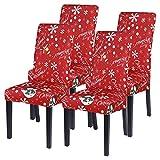 Shujin Universal Stretch Weihnachten 4er/6er Set Stuhlhussen Abnehmbare Stuhlbezug Sitz Stuhl Esszimmer überzug Abdeckungen für Husse Hotel Party Bankett(#B Rot,4er)