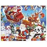 OJIN 100 Stücke Holz Puzzle Frohe Weihnachten Weihnachten Weihnachtsmann Frühen Kinder Entwicklung Puzzle Holz Cartoon Spielzeug mit Metall Aufbewahrungsbox für Jungen & Mädchen (100 Pieces)