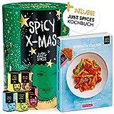 Just Spices Gewürz Adventskalender 2020   Weihnachtskalender mit 24 Gewürzmischungen + italienisches Kochbuch   Gewürze Kalender als Geschenk für Männer und Frauen   insgesamt 4,5 kg