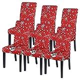 Vertvie Weihnachten Stuhlhussen 1er/2er/4er/6er Set Stretch Stuhlbezug Universal Moderne Xmas Festlich Husse Dekoration Protector Chair Cover Party Restaurant (6er Set, Weihnachten 4)