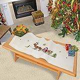 Kamaca Stickpackung FRÖHLICHE Weihnachten mit Rentieren und dem Weihnachtsmann Kreuzstich vorgezeichnet aus 100% Baumwolle zum Selbersticken Winter Weihnachten (Tischläufer 40 x 100 cm)