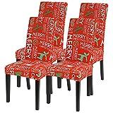IVYSHION stuhlhussen Weihnachten 4/6er Set Stuhlbezug Stretch Stuhlhussen Schwingstühle Esszimmerstühle Elastischer Hussen Schwingstuhl Weihnachtsdekor Stuhlbezug für Husse Bankett Party Hotel