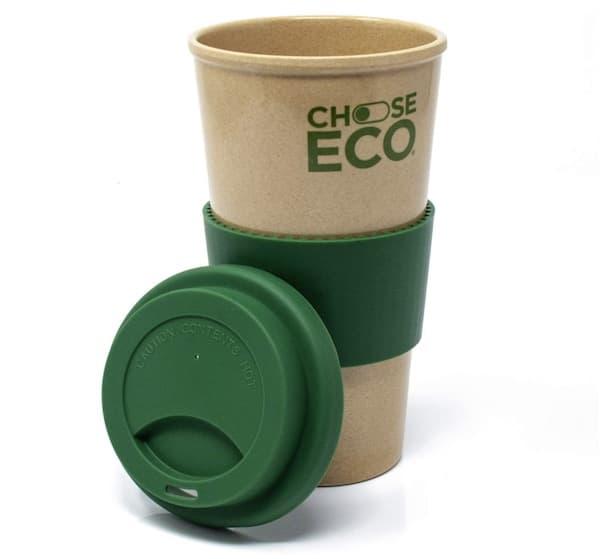 Kaffeebecher 550ml Grün aus Reishülsen