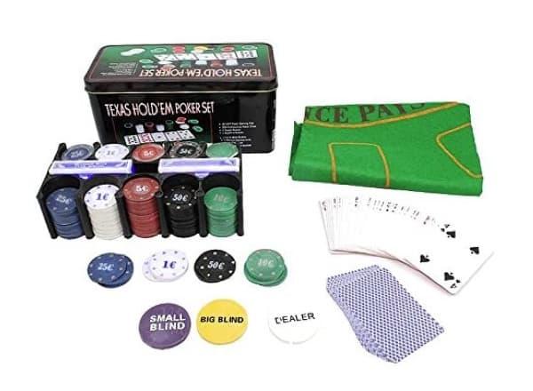Poker-Set für Texas Holdem mit 200 Chips