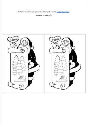 Weihnachtsrätsel Fehlersuchbild Nikolaus