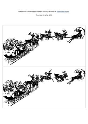 Weihnachtsrätsel Fehlersuchbild Weihnachtsmann