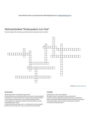 Kreuzworträtsel: Weihnachtsrätsel für Kinder