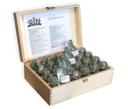 Gin-Adventskalender in edler Holz Geschenkbox ®