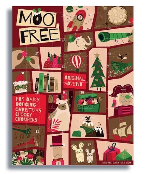 Moo Free laktosefreier Adventskalender mit veganer Bio-Schokolade