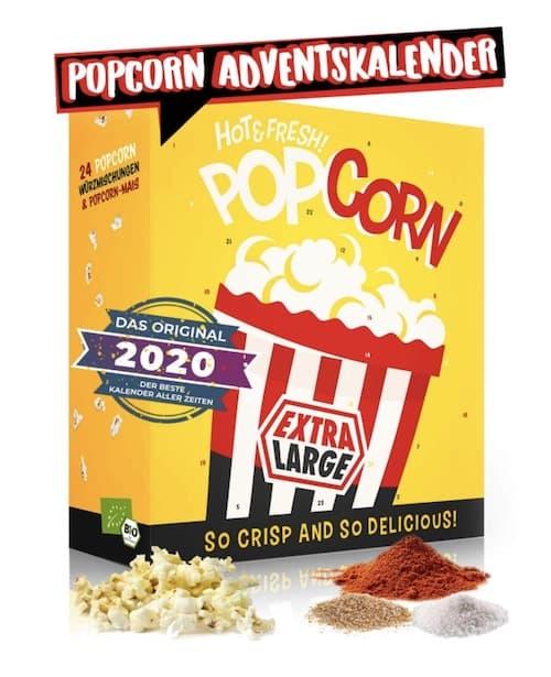 Popcorn Adventskalender mit verschiedenen Geschmacksrichtungen